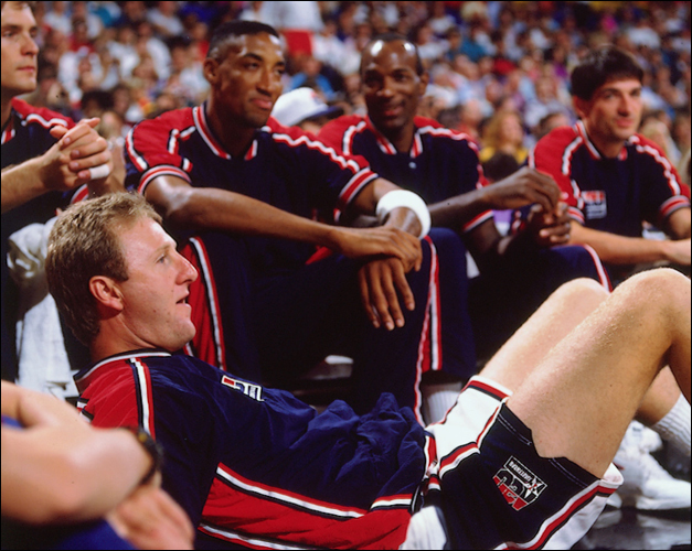 Larry Bird with Scottie Pippen and Clyde Drexler - Photo by Andrew D. Bernstein